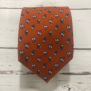 Brooks Brothers Fishing Hook Pattern 100% Silk Tie